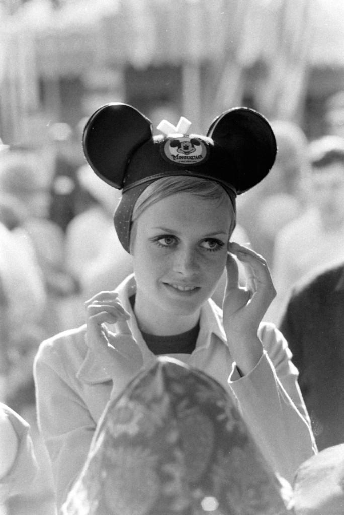 Subject: British fashion model Twiggy wearing Mickey Mouse ears at Disneyland. Anaheim, California 1967 Photographer- Ralph Crane Time Inc Owned Merlin-20122819