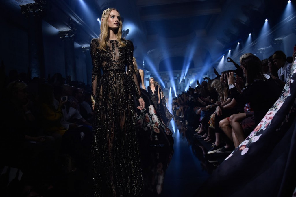 PARIS, FRANCE - JULY 08: Models walk the runway during the Elie Saab show as part of Paris Fashion Week Haute Couture Fall/Winter 2015/2016 on July 8, 2015 in Paris, France. (Photo by Pascal Le Segretain/Getty Images)