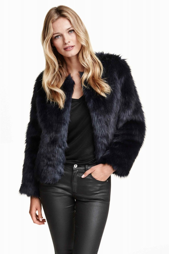 giacca in pelliccia sintentica h&m
