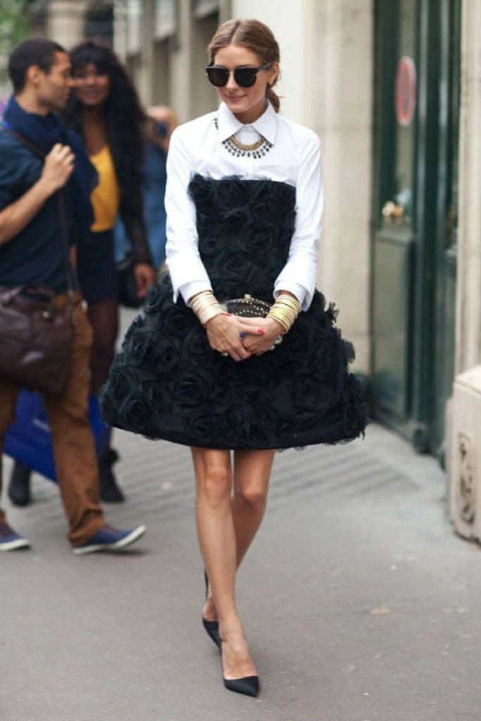 olivia-palermo-strapless-dress-with-shirt